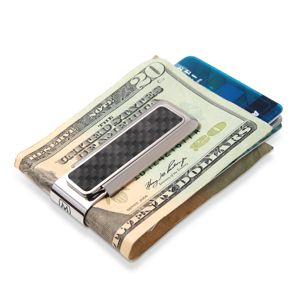ffb4baa1882 ... Stainless With Black Carbon Fiber Money Clip ...