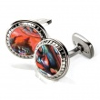 Orange Abalone Carved Round Cufflinks
