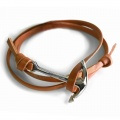 Tan Leather with Polished Anchor Bracelet