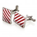 Crimson & White Inlay Cufflinks
