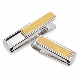 Rhodium Bamboo Wood Money Clip
