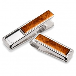 Rhodium Bubinga Wood Money Clip