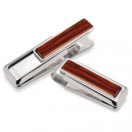 Rhodium Cocobolo Wood Money Clip