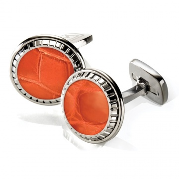Orange Alligator Carved Cufflinks