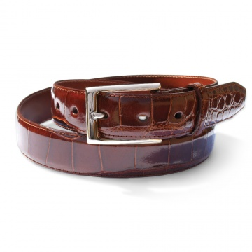Cognac Genuine Alligator Belt
