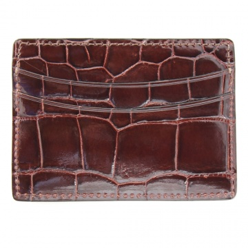 Dark Brown Alligator Card Case