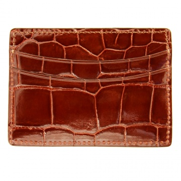 Cognac Alligator Card Case