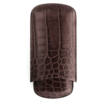 Brown Crocodile Cigar Case
