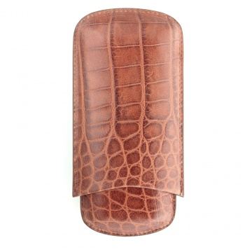 Cognac Crocodile Cigar Case