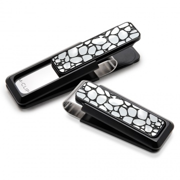 Black Aluminum with Black Enamel River Rock Money Clip