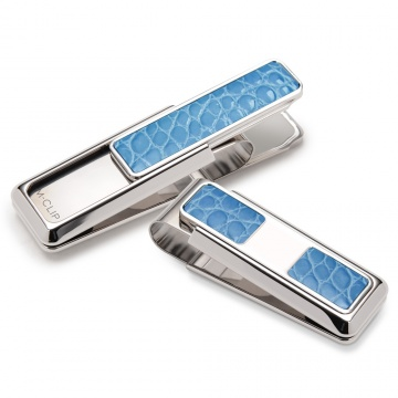 Rodeo Light Blue Alligator 2 Pocket Money Clip