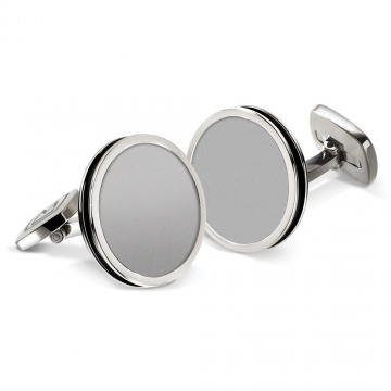 Brushed Stainless Bordered Round Cufflinks