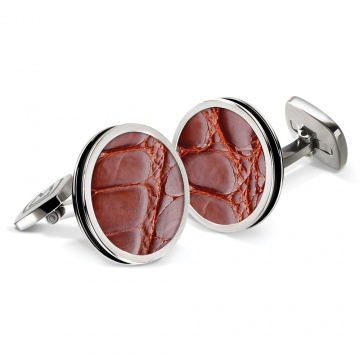 Cognac Alligator Bordered Round Cufflinks