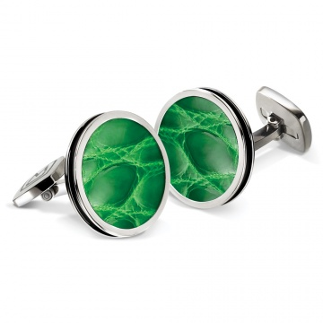 Dark Green Alligator Bordered Round Cufflinks