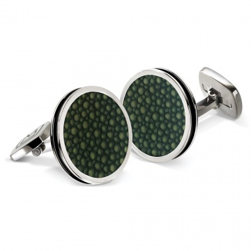 Dark Green Stingray Bordered Round Cufflinks