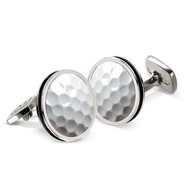 Golfball Bordered Round Cufflinks
