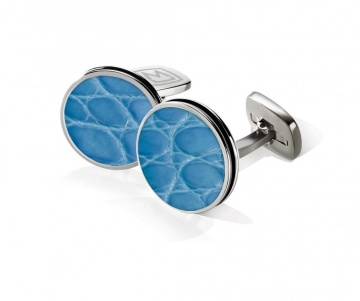 Light Blue Alligator Bordered Round Cufflinks