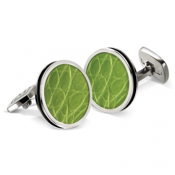 Light Green Alligator Bordered Round Cufflinks