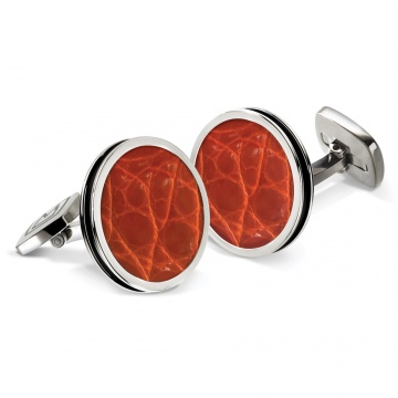 Orange Alligator Bordered Round Cufflinks