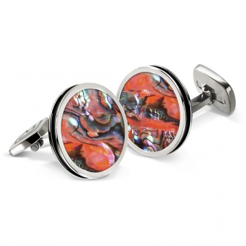 Orange Abalone Bordered Round Cufflinks