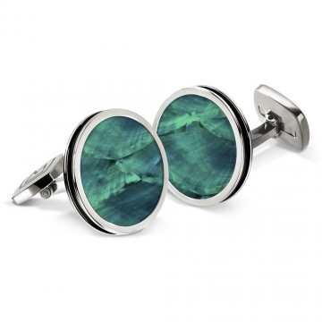 Teal Angel Wing Bordered Round Cufflinks