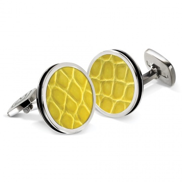 Yellow Alligator Bordered Round Cufflinks