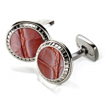 Cognac Alligator Carved Cufflinks