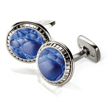 Dark Blue Alligator Carved Cufflinks