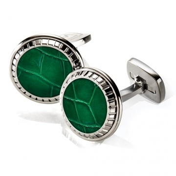 Dark Green Alligator Carved Cufflinks