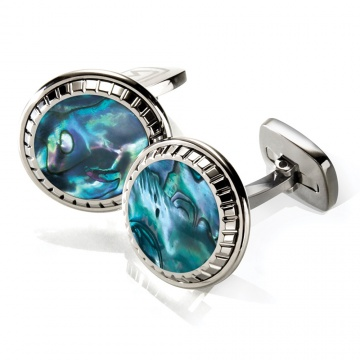 Green Abalone Carved Round Cufflinks