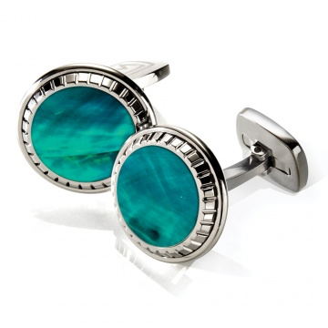 Teal Angel Wing Carved Round Cufflinks