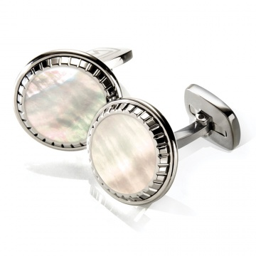White Mother of Pearl Carved Round Cufflinks