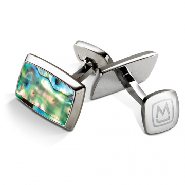 Green Abalone Tapered Rectangle Cufflinks
