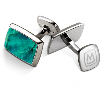 Teal Angel Wing Tapered Rectangle Cufflinks