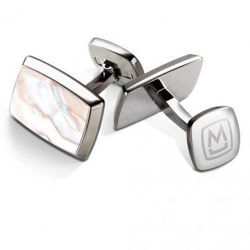 White Mother of Pearl Tapered Rectangle Cufflinks