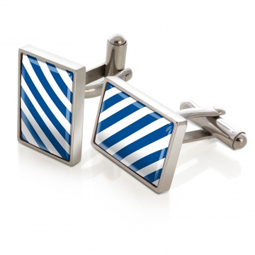 Blue & White Inlay Cufflinks