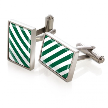 Dark Green & White Inlay Cufflinks