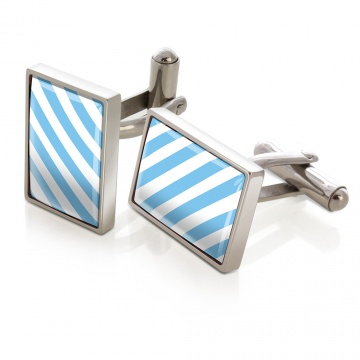 Light Blue & White Inlay Cufflinks