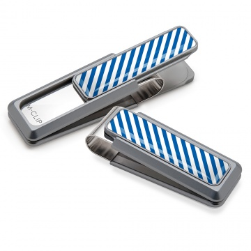 Blue & White Inlay Money Clip