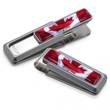 Natural With Canadian Flag Inlay Money Clip