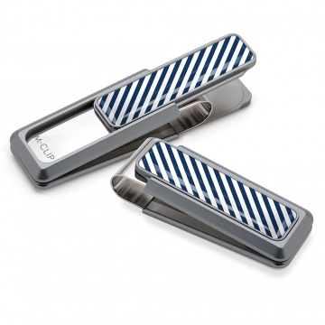 Dark Blue & White Inlay Money Clip