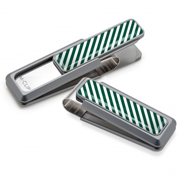 Dark Green & White Inlay Money Clip