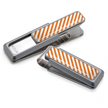 Dark Orange & White Inlay Money Clip