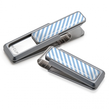 Light Blue & White Inlay Money Clip