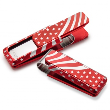 Anodized Red With Laser Engraved Flag Money Clip