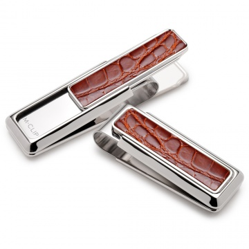 Monterey Rhodium Cognac Alligator Money Clip