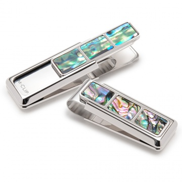 Mother of Pearl Green Abalone 3 Pocket Money Clip