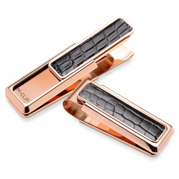 Rose Gold Black Alligator Money Clip