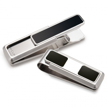 Stainless With Black Enamel Inlay 2 Pocket Money Clip
