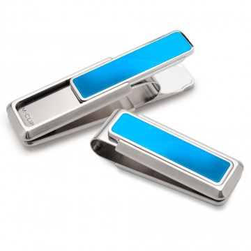 Stainless With Blue Pvd Inlay Money Clip